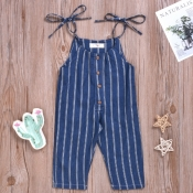 lovely Sweet Striped Deep Blue Girl One-piece Jump