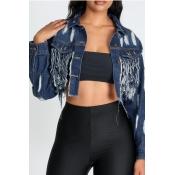 lovely Trendy Tassel Design Deep Blue Jacket