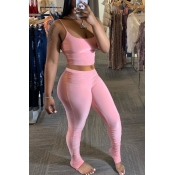 Lovely Sexy Basic Skinny Pink Two-piece Pants Set