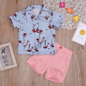 lovely Stylish Print Blue Boy Two-piece Shorts Set