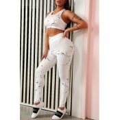 lovely Sportswear Print White Two-piece Pants Set