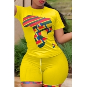 Lovely Casual O Neck Print Yellow Plus Size Two-piece Shorts Set
