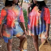 Lovely Casual O Neck Tie-dye Red Plus Size Two-pie