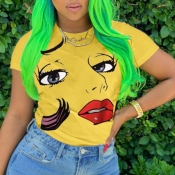 lovely Chic O Neck Print Yellow T-shirt
