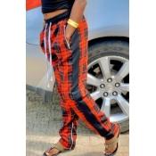 lovely Casual Grid Print Orange Pants