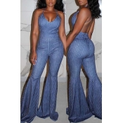 lovely Sexy Striped Deep Blue One-piece Jumpsuit