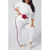 lovely Sportswear Patchwork White Plus Size Two-pi