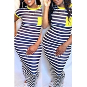 lovely Casual Striped Yellow Ankle Length Plus Size Dress