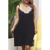 lovely Sexy Lace Patchwork Black Plus Size Babydol