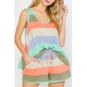lovely Casual Rainbow Striped Multicolor Plus Size