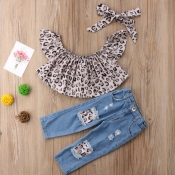 lovely Leisure Leopard Print Girl Two-piece Pants