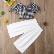 lovely Leisure Grid Print White Girl Two-piece Pan