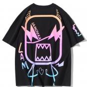 lovely Street O Neck Print Black T-shirt