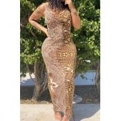 lovely Stylish Leopard Print Ankle Length Dress