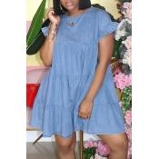 lovely Sweet O Neck Fold Design Blue Mini Dress