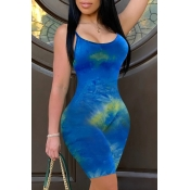 lovely Stylish Tie-dye Blue One-piece Romper