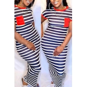lovely Casual Striped Red Ankle Length Plus Size D