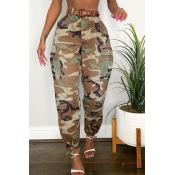 lovely Sportswear Camo Print Plus Size Pants