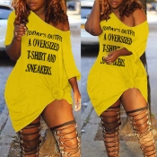 Lovely Casual Letter Yellow Mini Plus Size Dress