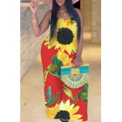 Lovely Bohemian V Neck Sunflower Print Red Maxi Pl