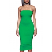 lovely Trendy Dew Shoulder Green Mid Calf Dress