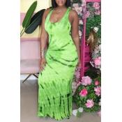 lovely Leisure Tie-dye Light Green Maxi Dress