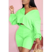 lovely Casual Zipper Design Green Two-piece Shorts Set