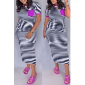 lovely Casual Striped Purple Ankle Length Dress