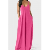lovely Leisure Pocket Patched PinkMaxi Plus Size Dress