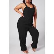 Lovely Leisure Loose Black Plus Size One-piece Jumpsuit