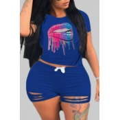 lovely Casual Lip Print Blue Plus Size Two-piece Shorts Set