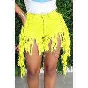 lovely Casual Tassel Design Yellow Denim Shorts