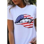 Lovely Leisure O Neck Lip Print White Plus Size T-