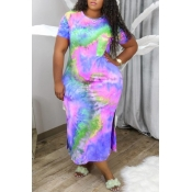 Lovely Casual Tie-dye Green Ankle Length Plus Size Dress