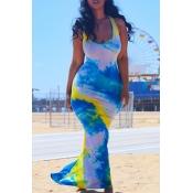 lovely Leisure Tie-dye Mutlicolor Maxi Dress