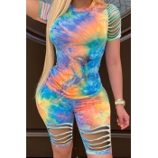 lovely Trendy Tie-dye Hollow-out Blue Two-piece Sh