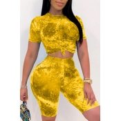 lovely Stylish Tie-dye Yellow Plus Size Two-piece