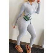 lovely Sportswear Zipper Design Grey One-piece Jum