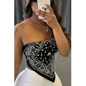 lovely Sexy Print Black Plus Size Camisole