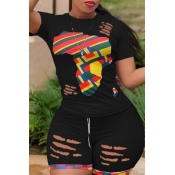 lovely Leisure Print Patchwork Black Two-piece Sho