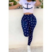 Lovely Casual O Neck Print Dark Blue Two-piece Pan