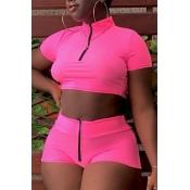 lovely Sportswear Zipper Design Rose Red Two-piece