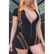 lovely Sportswear Zipper Design Black One-piece Ro
