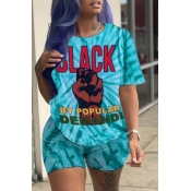 lovely Leisure Print Blue Two-piece Shorts Set