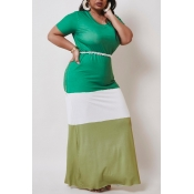 lovely Casual Color-lump Patchwork Green Maxi Plus