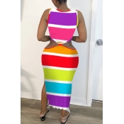 lovely Casual Rainbow Striped Multicolor Mid Calf