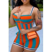 Lovely Sexy Striped Patchwork One-piece Romper