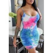 lovely Stylish Tie-dye Deep Blue Mini Dress