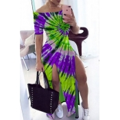 lovely Stylish Tie-dye Purple Maxi Dress