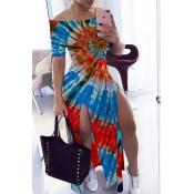 lovely Stylish Tie-dye Blue Maxi Dress